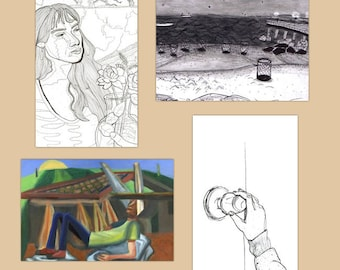 New! Set of Four Art Postcards