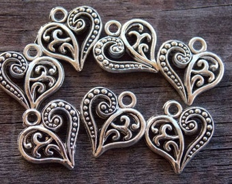 20 Antiqued Silver  Heart Charms 14mm Silver Filigree Heart Charms