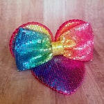Pastel Rainbow Sequin and Glitter FascinEar™ Fascinator Hat With Mouse Ears