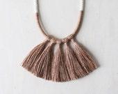 LAST CHANCE | MEDEA necklace - silk tassel fringe rope statement necklace