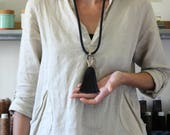 CLAY NECKLACE | black cotton rope & tassel necklace
