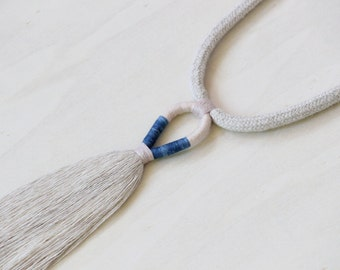 ELEMENT necklace - linen tassel rope necklace with indigo and plant-dyed cotton yarn details