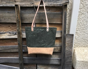 Waxed Canvas and Cork Tote
