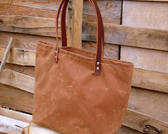 Waxed Canvas Market Bag with Leather Handles