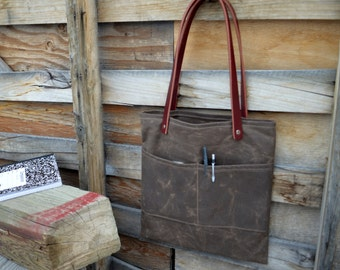 Waxed Canvas and Leather Tote -iPad Tote - Reader Tote- Tablet Tote- Large
