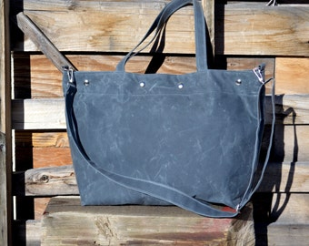 Waxed Canvas Tote with Detachable Strap- Diaper Bag- Weekender-Vegan
