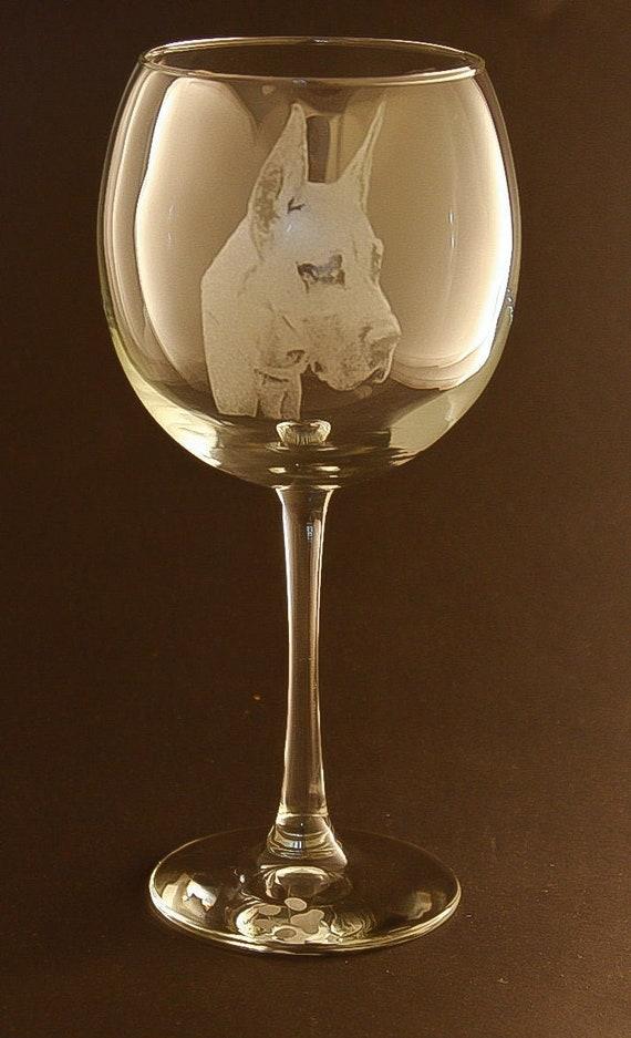 Etched Great Dane On Elegant Wine Glass Set Of 2 Etsy