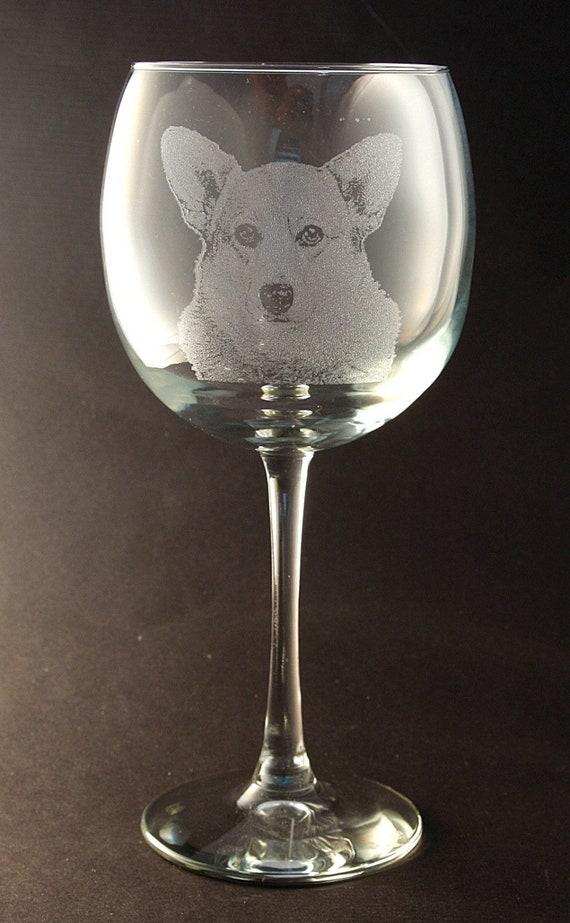 Etched Cardigan Welsh Corgi on Large Elegant Stemless Wine Glasses-Set of 2 New