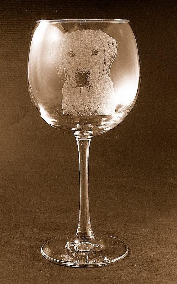 Etched Labrador Retriever on Large Elegant Wine Glasses Set of 2