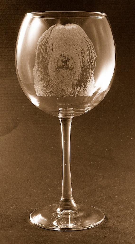 Etched Belgian Tervuren on Large Elegant Wine Glasses Set of 2