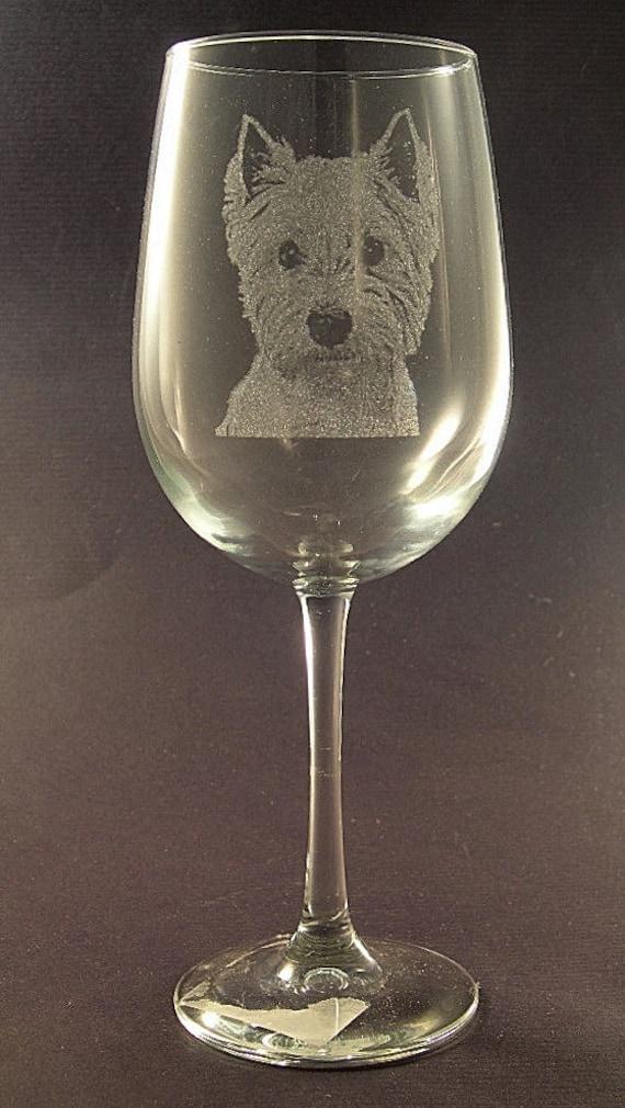 Etched Irish Terrier on Large Elegant Wine Glasses Set of 2 New