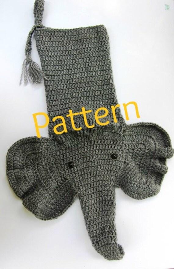 Crocheted Elephant Christmas Stocking Pattern Etsy