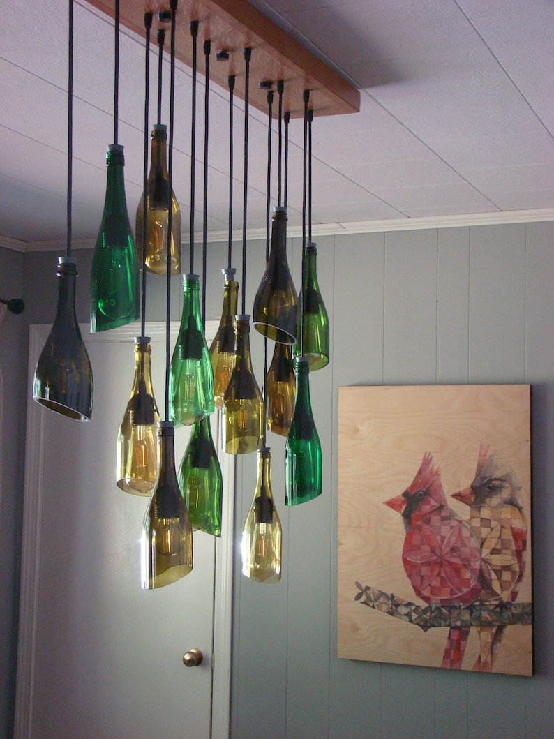 Fourteen Light Angle Cut Staggered Wine Bottle Chandelier Etsy