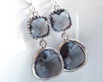 Gray Earrings, Glass Earrings, Charcoal Earrings, Grey Silver Earrings, Bridesmaid Earrings, Bridal Jewelry, Bridesmaid Gifts