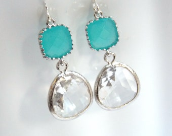 Mint Earrings, Blue Earrings, Turquoise, Aquamarine, Aqua, Silver Earrings, Glass, Clear Earrings, Bridesmaid Earrings, Bridesmaid Gifts