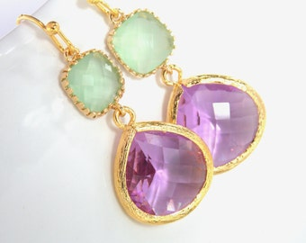 Lavender Earrings, Green Mint Earrings, Gold, Glass, Violet, Purple, Lilac, Bridesmaid Jewelry, Bridesmaid Earrings, Bridesmaid Gifts