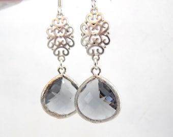 Gray Earrings, Glass Earrings, Grey Earrings, Silver Earrings, Charcoal, Oriental, Wedding Jewelry, Bridesmaid Earrings, Bridesmaid Gifts