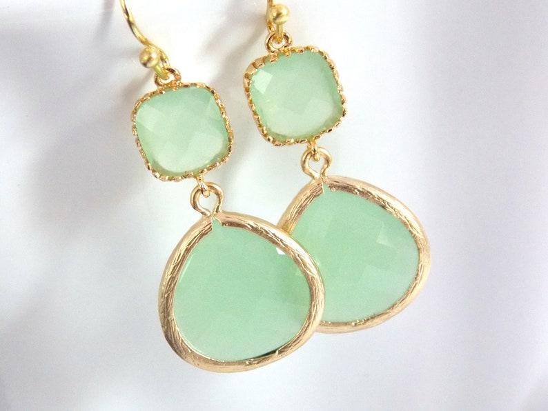 Gold Green Mint Earrings Light Green Earrings Gold Earrings  838cbd86c378