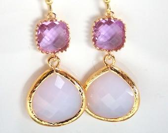 Lavender Earrings, Purple Earrings, Glass, Violet Opal Earrings, Lilac, Gold, Wedding Jewelry, Bridesmaid Earrings, Bridal, Bridesmaid Gift