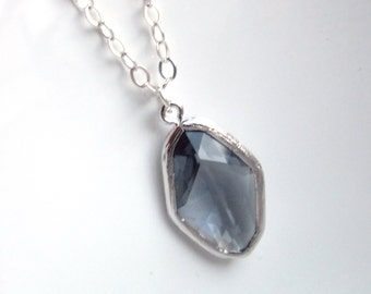 Gray Necklace, Glass Necklace, Sterling Silver, Grey, Charcoal, Wedding Jewelry, Bridesmaid Necklace, Bridal Necklace, Bridesmaid Gifts