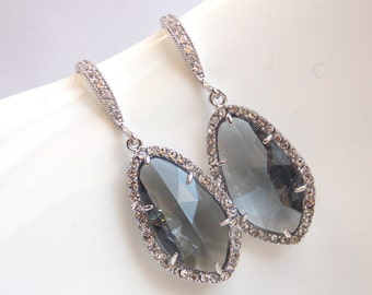 Gray Earrings, Grey Earrings, Glass, Zirconia, Silver, Charcoal, Wedding Jewelry, Bridesmaid Earrings, Bridal Earrings, Bridesmaid Gift