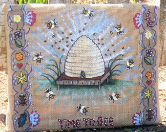 """Beehive Painting, Bee Art, Hand Painted Bees, Framed Honey Bee Hive, Garden Wall Hanging, Rustic Painting on Burlap, """"Time to Bee"""""""