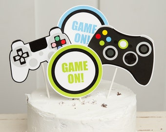 Video Game Cake Toppers Theme Party Printable Cupcake Controller Topper