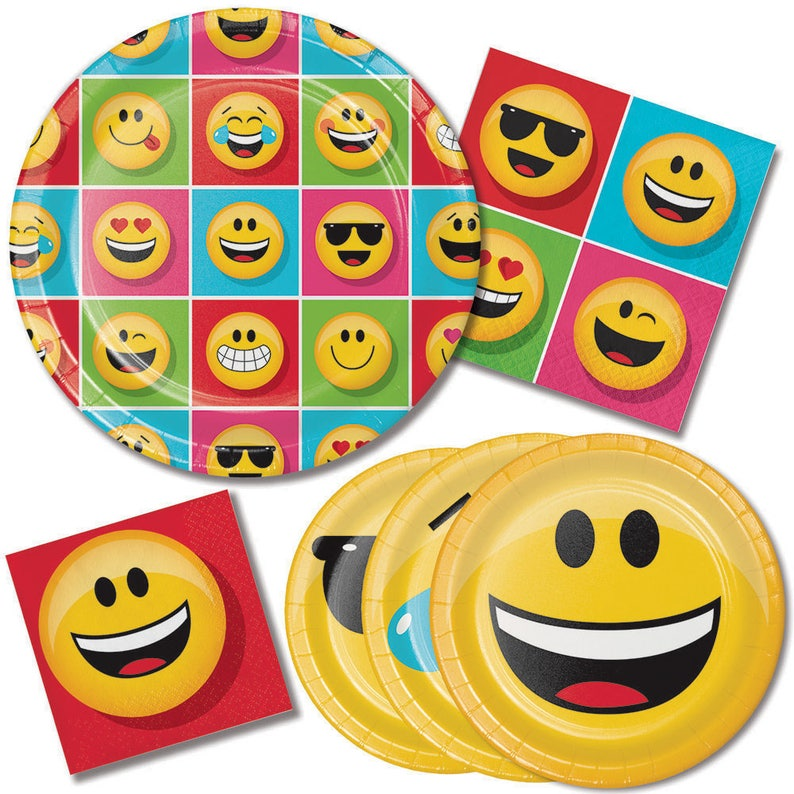 Emoji Party Paper Set Plates Cups