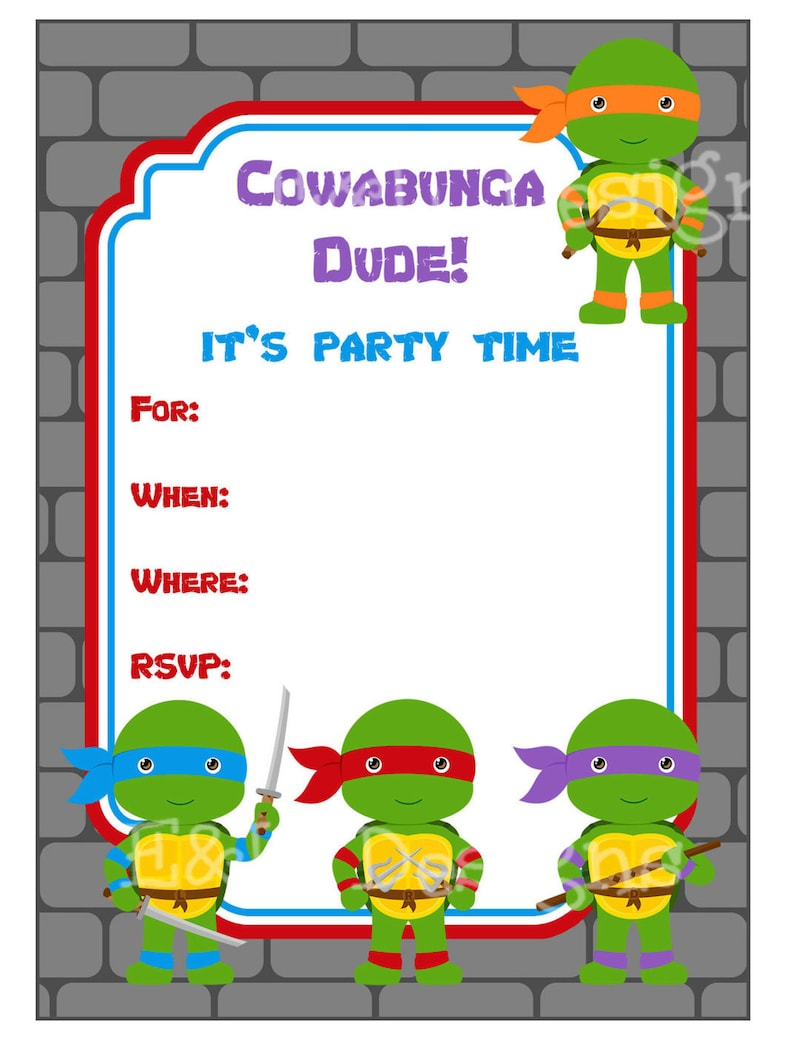 Ninja Turtle Party Invitation Ninja Turtle Party Printable Etsy