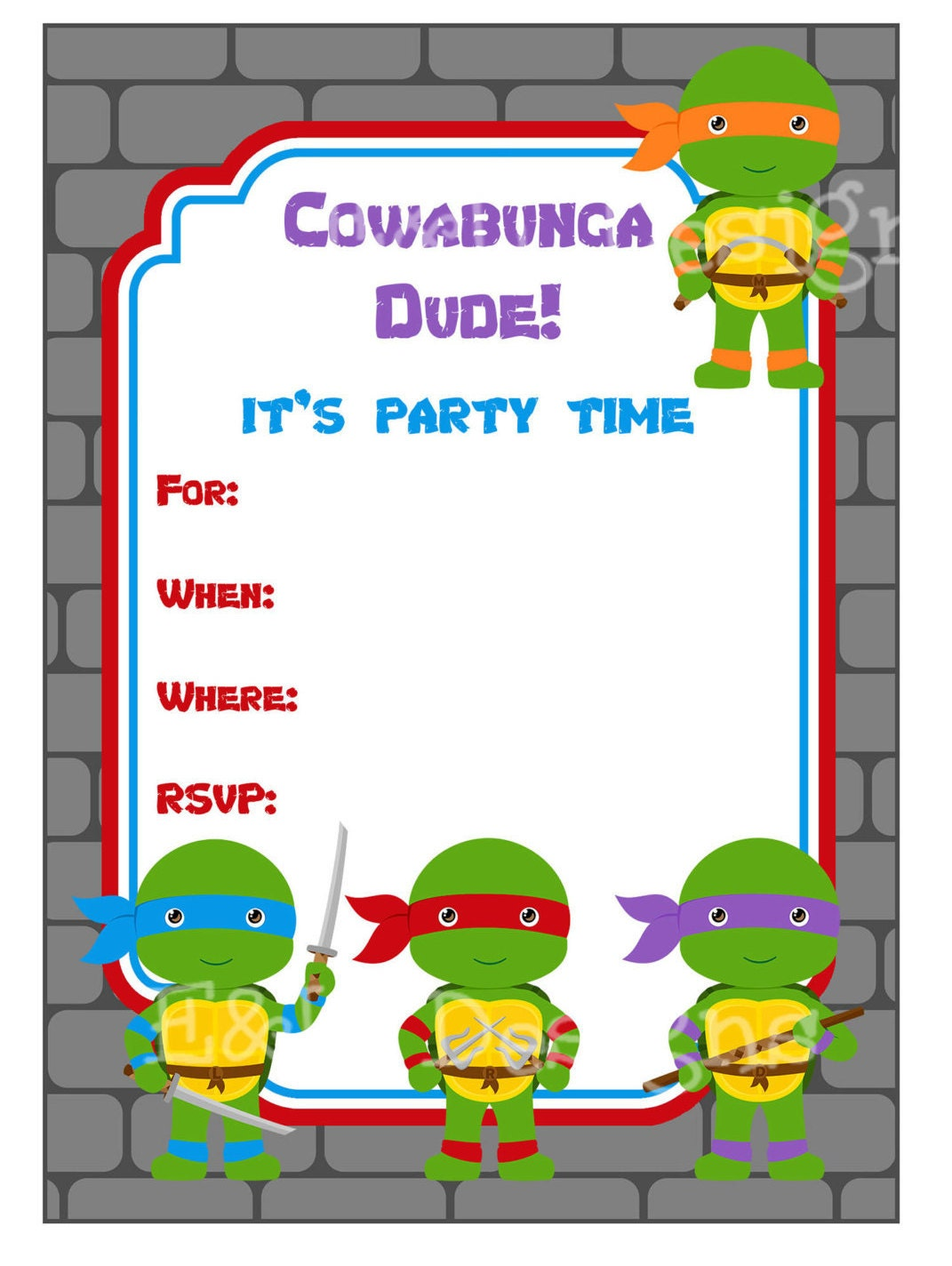 Ninja Turtle Party Invitation Ninja Turtle Party Printable | Etsy
