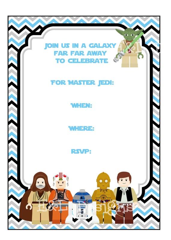 Starwars Birthday Party Invitation 5x7 Star Wars