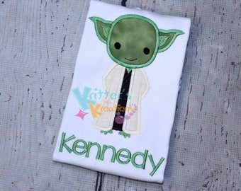 Star Wars - Yoda - Inspired Embroidered Applique Shirt
