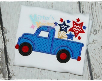 Firework Truck - Stars - 4th of July - Independence Day Embroidered Appliqued Shirt,