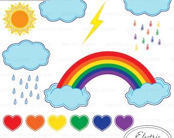 Rainbow Clipart -Set 1 - Rainy Day Clipart - Brights - Bright Rainbow, Clouds, Raindrops, Sun, Hearts