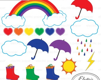 Rainbow Clipart - Rainy Day Clipart - Brights - Bright Rainbow Clouds Umbrella Rain Boots Girl Pastel  Instant Download