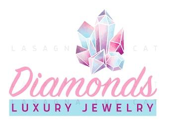 Premade editable logo design, diamond watercolor logo, crystal and gems logo, alternative watermark logo, instant digital download psd file