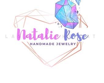 Premade editable logo design, diamond watercolor logo, wreath heart gold logo, alternative watermark logo, instant digital download psd file