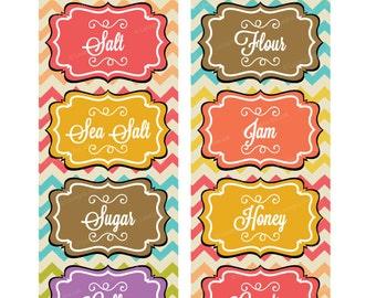 INSTANT DOWNLOAD. Cute vintage chevron Kitchen Pantry Labels - JPG Printable Files - Kitchen jar labels