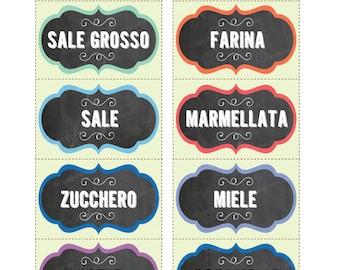 INSTANT DOWNLOAD. Vintage fancy plaque chalkboard Italian Kitchen Pantry Labels - JPG Printable Files - Kitchen jar labels