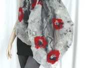 Nuno felted scarf silk and wool - Grey and red flowers shawl
