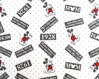 C058 - 1 meter soft and smooth Cotton Sateen Fabric - Mikcy mouse on white(140cm ,190g)
