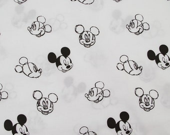 C245 - 140cmx100cm Soft and smooth Cotton  Fabric - Cartoon - mickey on white background