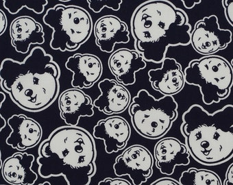 C236 - 140cmx100cm soft and smooth Cotton  Fabric - smile baby face on deep blue background