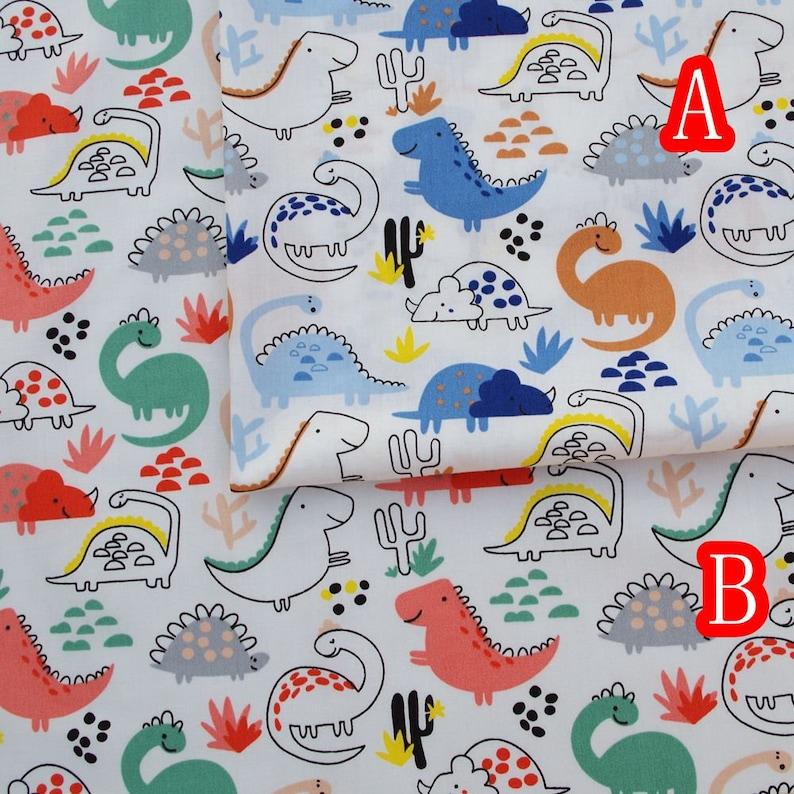 160cmx50cm  Cotton Twill Fabric Dinosaur,rainbow,leaf