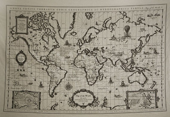 L901 retro cotton linen fabric antique world map 145cm x gumiabroncs Gallery