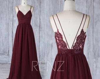 4fc0d5d319a8 Bridesmaid Dress Burgundy Lace Boho Wedding Dress Long Backless Spaghetti  Strap Bridesmaids Dresses (H549A)