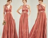 Bridesmaid Dress Velvet Long English Rose Wedding Dress V Neck A-line Convertible Straps Infinity Dress (HV763)