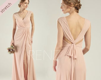 3b1716d16d Prom Dress Pale Peach V Neck Stretch Chiffon Bridesmaid Dress Long Lapped  Slit Party Dress Open Back Cap Sleeves Women Formal Dress (HZ782)