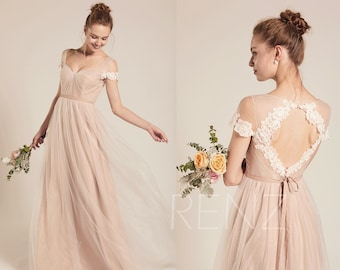 5ea73fc3640 Formal Dress Long Pale Khaki Tulle Sweetheart Prom Dress A-line Dress  (LS482)