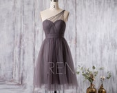 Bridesmaid Dress Charcoal Gray Tulle Dress,Wedding Dress,One Shoulder Beaded Cocktail Dress,Illusion Sweetheart A-Line Party Dress(FS352)